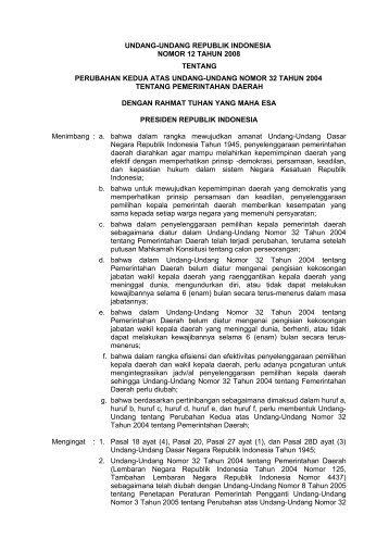 undang-undang republik indonesia nomor 12 tahun 2008 ... - Asbanda