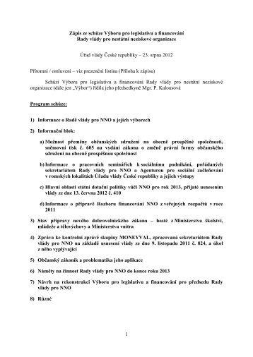 1 Zápis ze schůze Výboru pro legislativu a financování Rady vlády ...