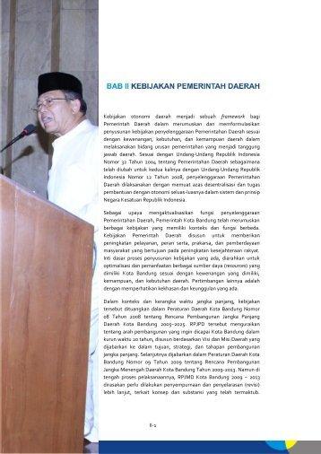 II. KEBIJAKAN PEMERINTAH DAERAH - Pemerintah Kota Bandung
