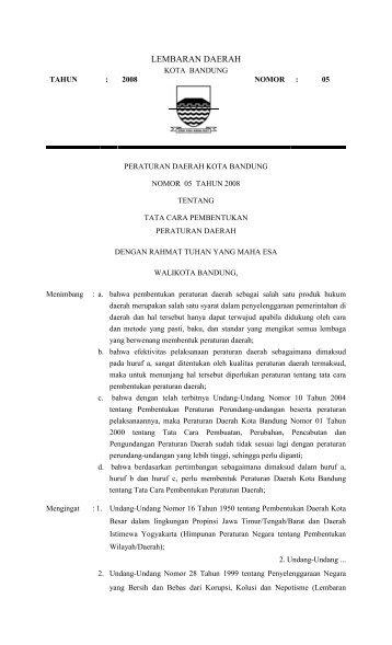 LEMBARAN DAERAH - Pemerintah Kota Bandung