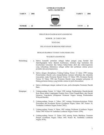 LEMBARAN DAERAH KOTA BANDUNG TAHUN 2001 - Pemerintah ...