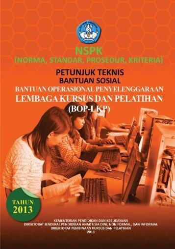 Petunjuk Teknis BOP LKP Tahun 2013 - Kemdikbud