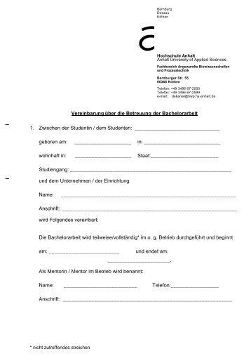 Vereinbarung-Bachelorarbeit - Hochschule Anhalt