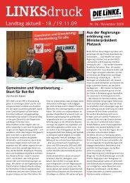 Linksdruck Landtag Aktuell 11 / 2009 - PDF 2.9 M - Die Linke.