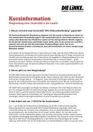 Kurzinfo Lausitzuni - PDF 64 K - Die Linke. - Land Brandenburg