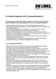 """11-Punkte-Programm 2013 (""""Sommerfahrplan"""") - Die Linke."""