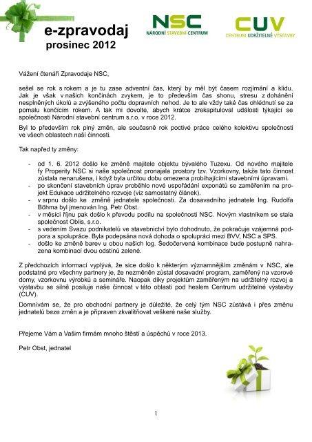e-zpravodaj - Národní stavební centrum