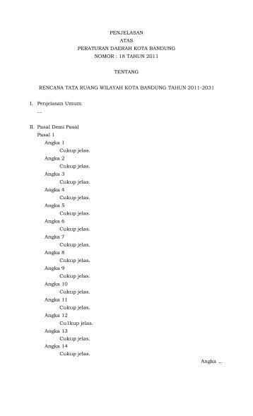 penjelasan atas peraturan daerah kota bandung nomor : 18 tahun ...