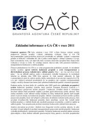 Základní informace o GA ČR v roce 2011