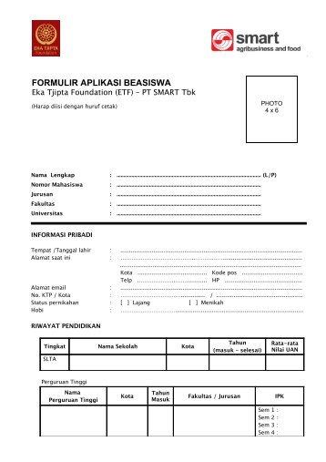 Form aplikasi beasiswa guru - PT SMART Tbk