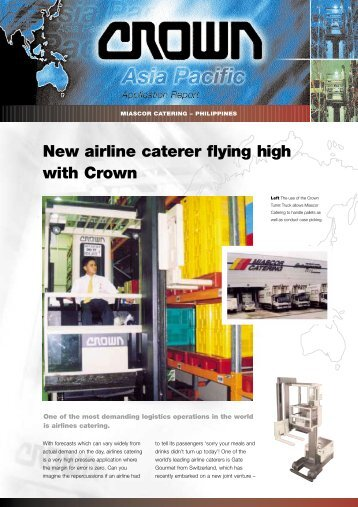 New airline caterer flying high with Crown - Crown Equipment ...