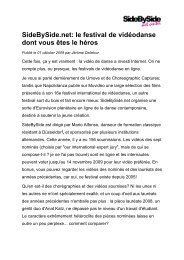 01-10-2009 Magazine Beaux Arts (FR) - SideBySide art center