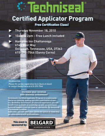 Certified Applicator Program - Techniseal