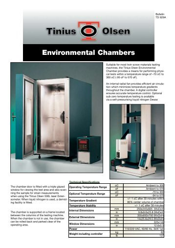 Bulletin TD929 Environmental chambers - Tinius Olsen