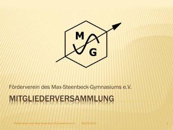 Bericht von der Vollversammlung März 201 - Max Steenbeck ...