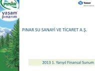 Yatırımcı Sunumu 2013 – 1Y - Pınar