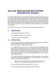 SILLA DE TENIS QUICKIE MATCHPOINT DESCRIPCION TECNICA