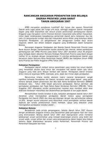 rancangan anggaran pendapatan dan belanja daerah provinsi jawa ...