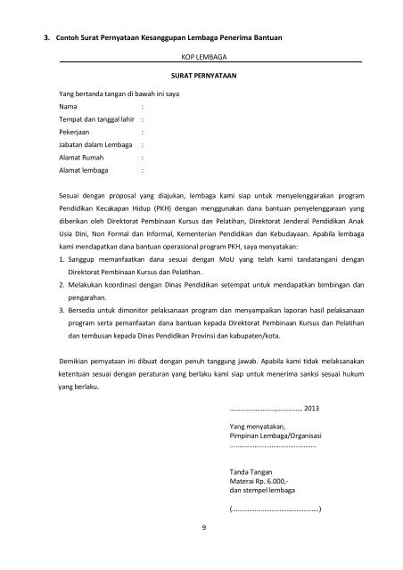 3 Contoh Surat Pernyataa