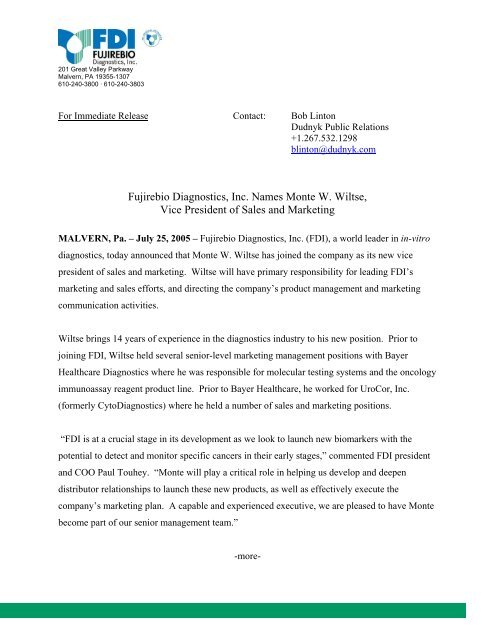 FOR IMMEDIATE RELEASE - Fujirebio Diagnostics, Inc