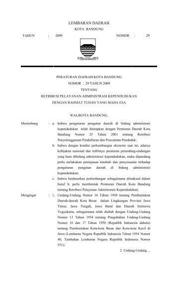Perda 29-2009 ttg Retribusi Kependudukan.pdf - DPRD Kota Bandung