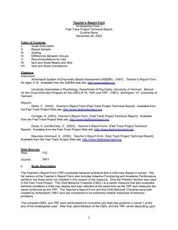 CAB Teacher Form Score Report - PAR