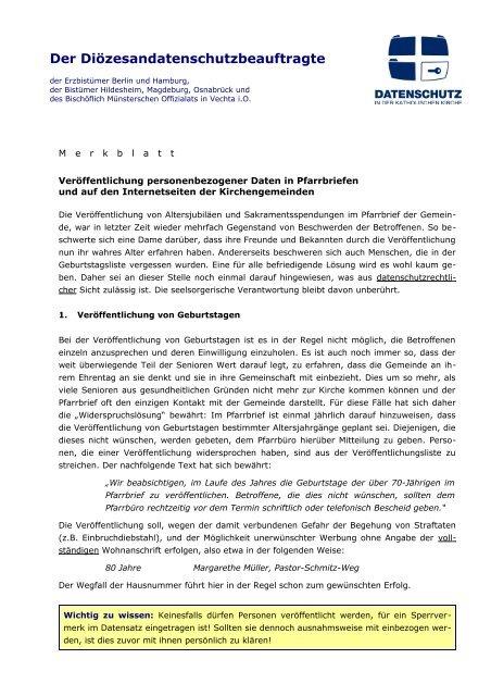 Der Diözesandatenschutzbeauftragte - Datenschutz in der  ...