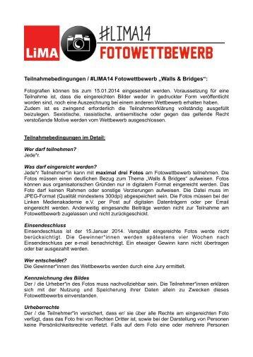"""Teilnahmebedingungen / #LIMA14 Fotowettbewerb """"Walls & Bridges"""":"""