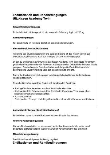 Indikationen Academy Sitzkissen - Invacare