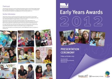 2012 Early Years Awards Program - Department of Education and ...