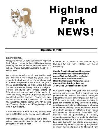 Highland Park NEWS! - Highland Park Elementary School