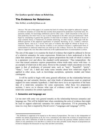 The Evidence for Relativism