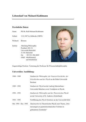 Lebenslauf von Meinard Kuhlmann - Universität Bielefeld