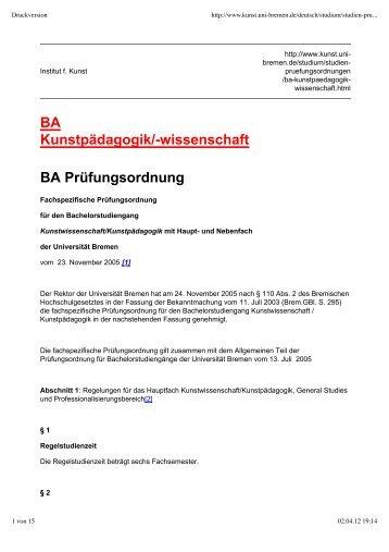 BA Kunstpädagogik - Fachbereich 9, Universität Bremen