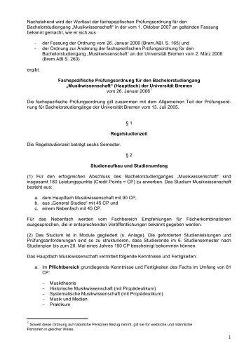 Musikwissenschaft - Fachbereich 9, Universität Bremen