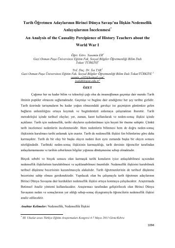 Tarih Öğretmen Adaylarının Birinci Dünya Savaşı'na İlişkin ...