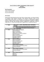 SHO 218 SOSYAL HİZMET ARAŞTIRMASI II DERSİ ANAHATTI ...