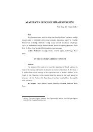ATATÜRK'ÜN GENÇLİĞE HİTABESİ ÜZERİNE - Gazi Eğitim Dergisi