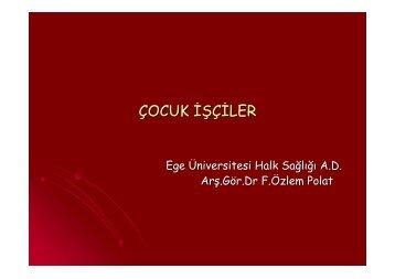 Çocuk İşçiler (512 KB) - Halk Sağlığı AD, Ege Üniversitesi Tıp Fak.