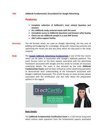 AdWords Fundamentals Exam Questions - Pass in First Attempt