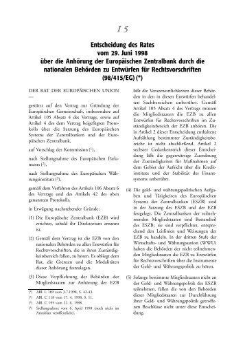 Entscheidung des Rates vom 29. Juni 1998 ... - Eu-Info.deutschland