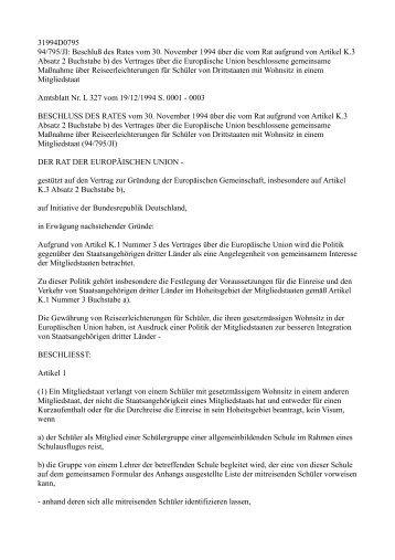 Beschluß des Rates vom 30. November 1994 ... - EU-Info.Deutschland