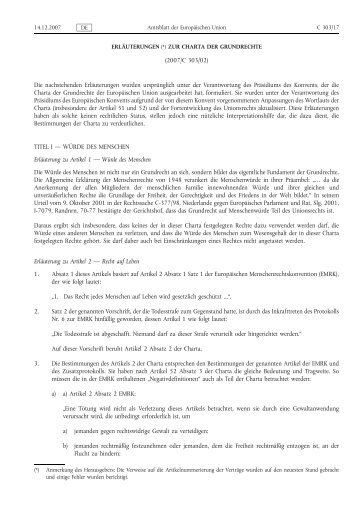 Erläuterungen zur Charta der Grundrechte - Eur-Lex - Europa