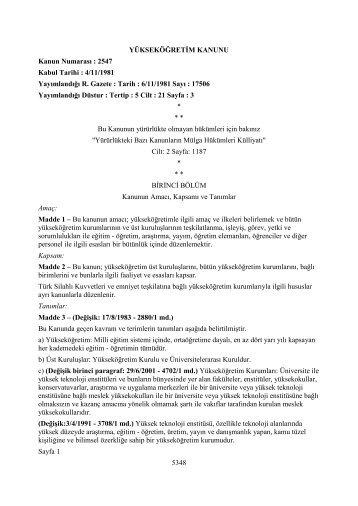 2547 sayılı Yüksek Öğretim Kanunu - Uzem