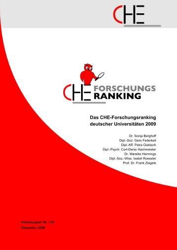 CHE Forschungsranking 2009 - CHE Ranking