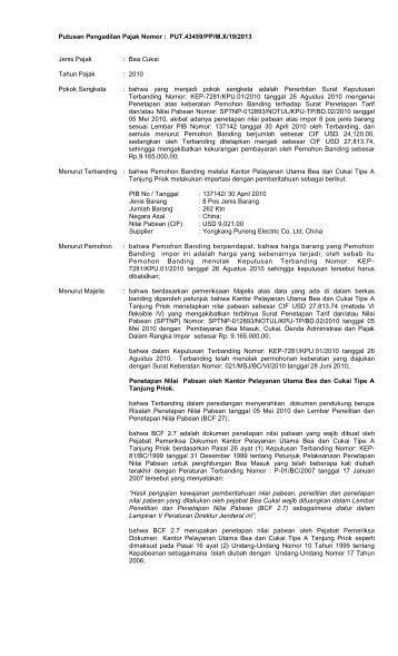 Putusan Pengadilan Pajak Nomor : - Sekretariat Pengadilan Pajak