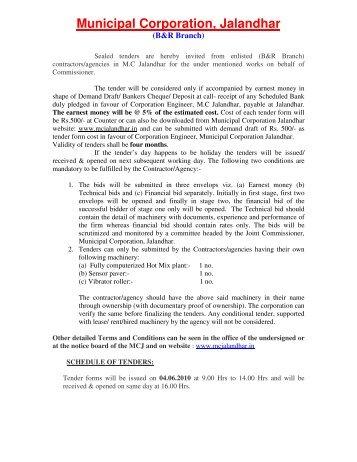 Terms & Conditions - Municipal Corporation Jalandhar