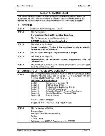 Section -II (Bid Data Sheet) - Municipal Corporation Jalandhar