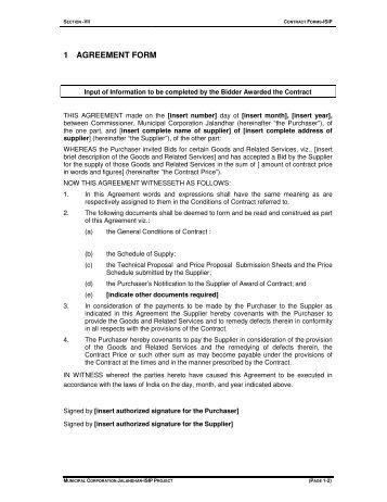 Section-VII (Contract form) - Municipal Corporation Jalandhar
