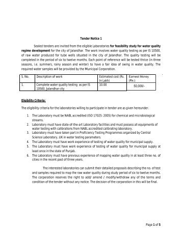 Page 1 of 5 Tender Notice 1 Sealed tenders are invited from the ...